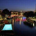 Donaukanal mit Badeschiff und Schwedenbrücke (1. Bezirk) © Schaub-Lorenz